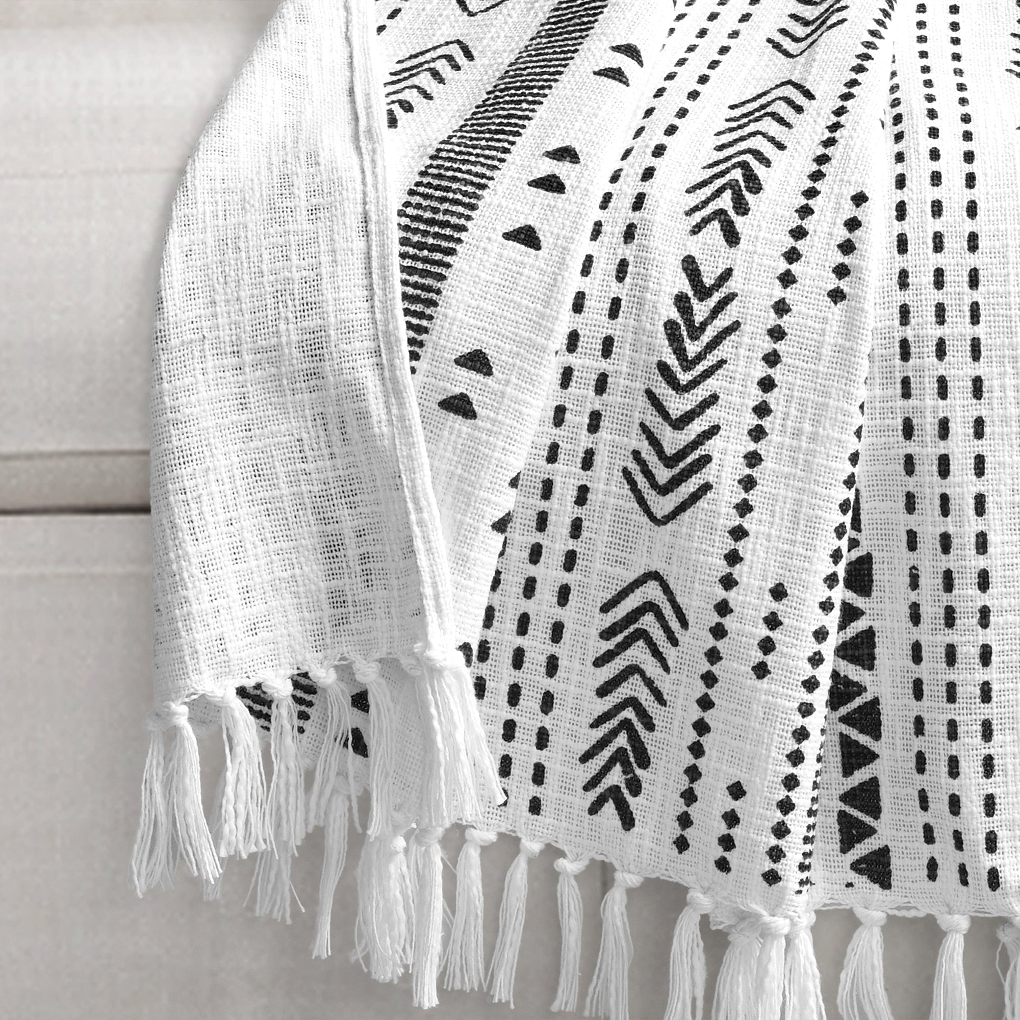 Hygge Stripe Cotton Slub Tassel Fringe Throw