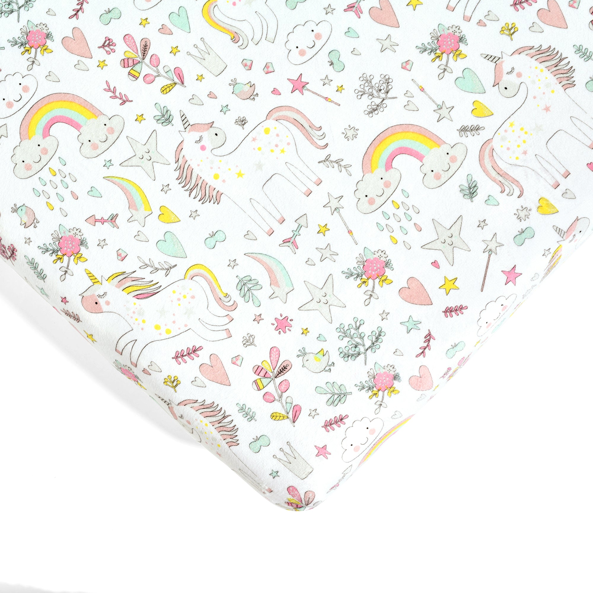 Unicorn Heart Rainbow Micro Mink Fitted Crib Sheet 2 Pack Set