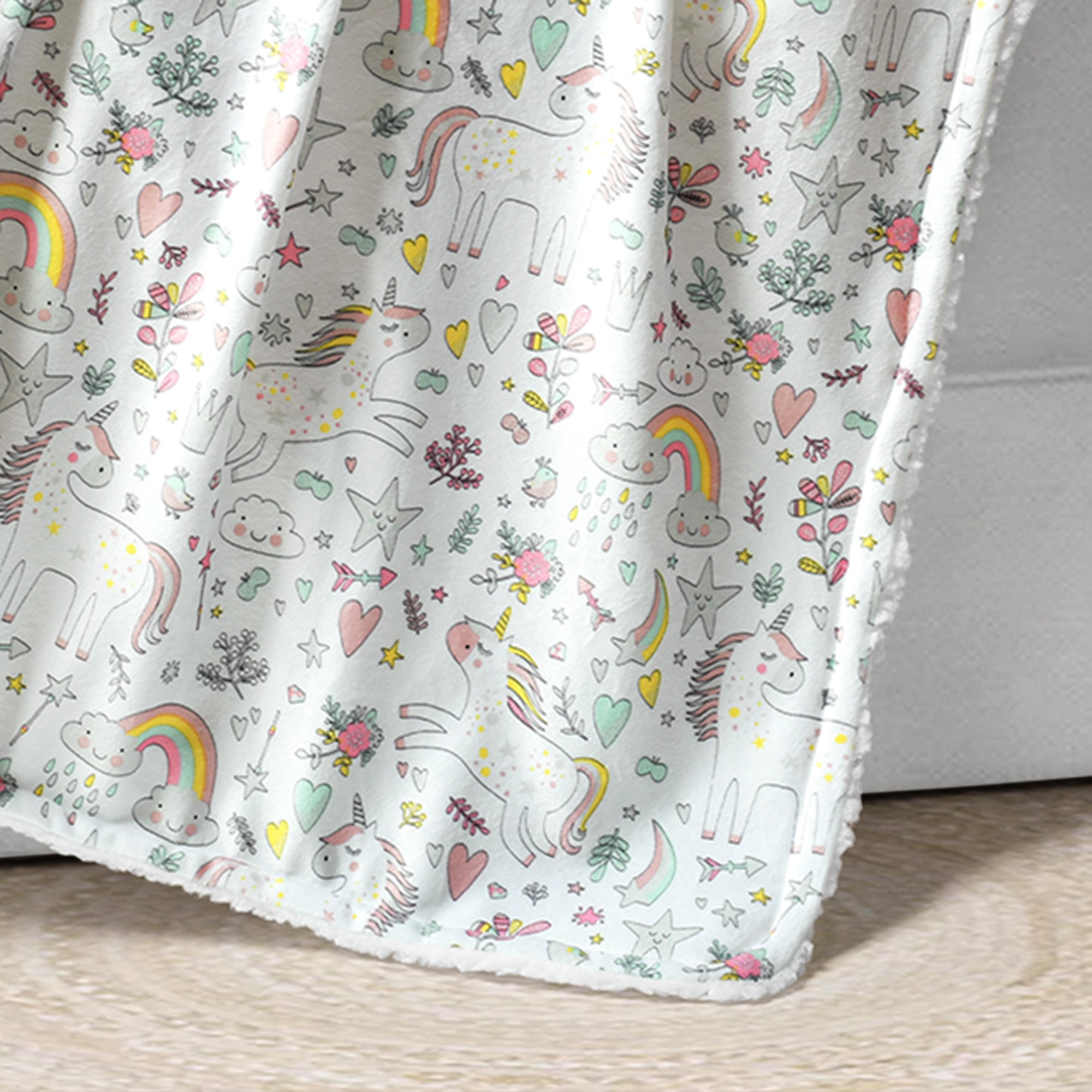 Unicorn Heart Rainbow Sherpa Baby Blanket