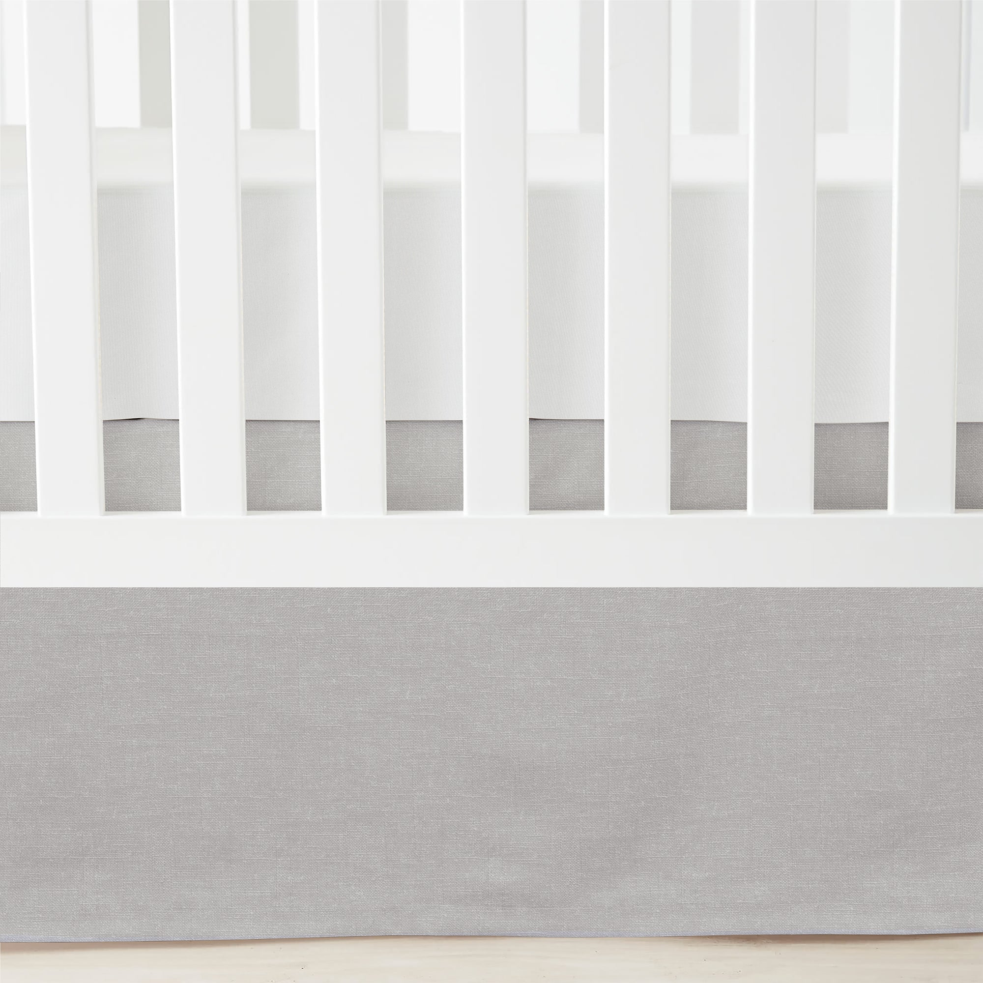 Printed Linen Textured Solid Crib Skirt
