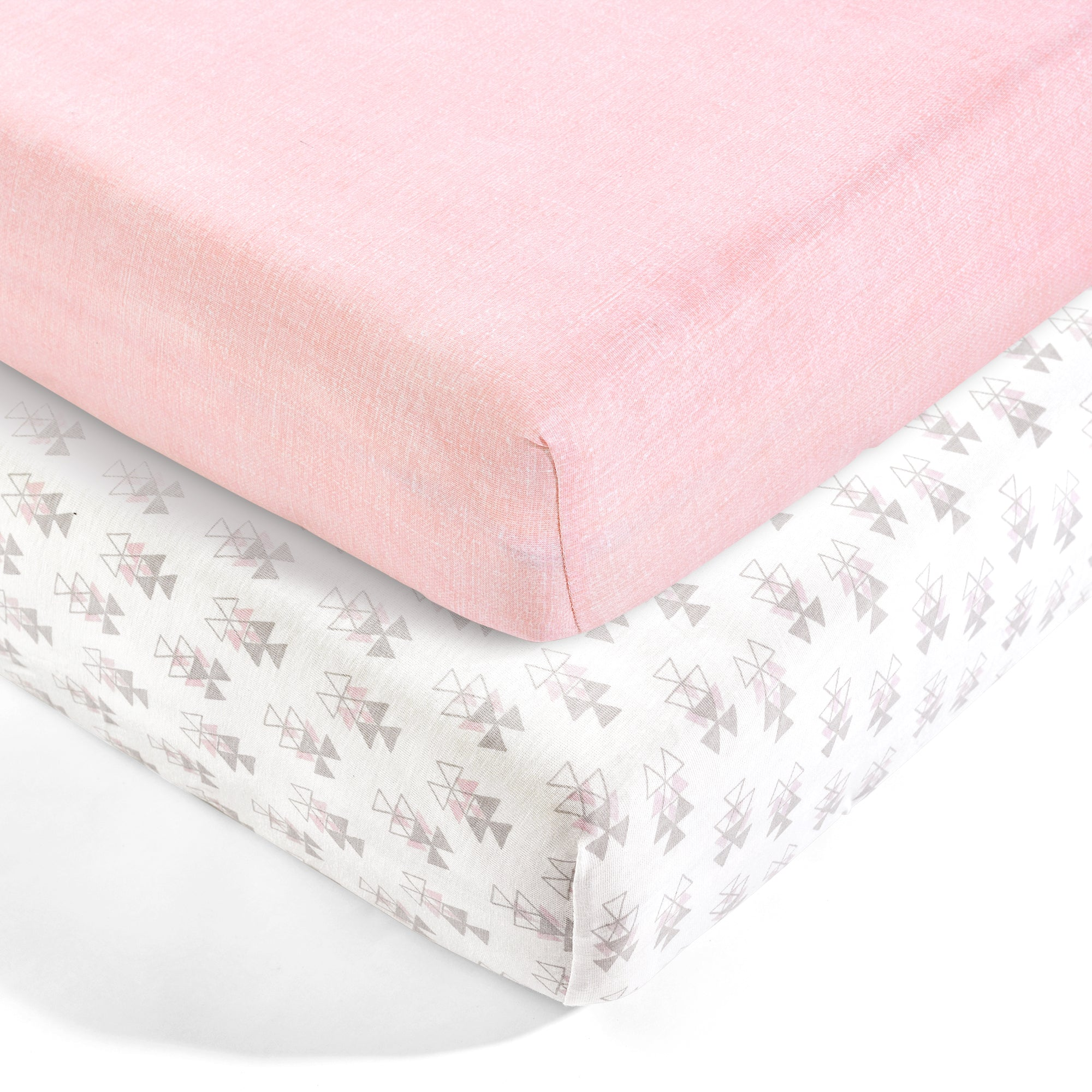 Pixie Fox Geo Organic Cotton Fitted Crib Sheet 2 Pack Set