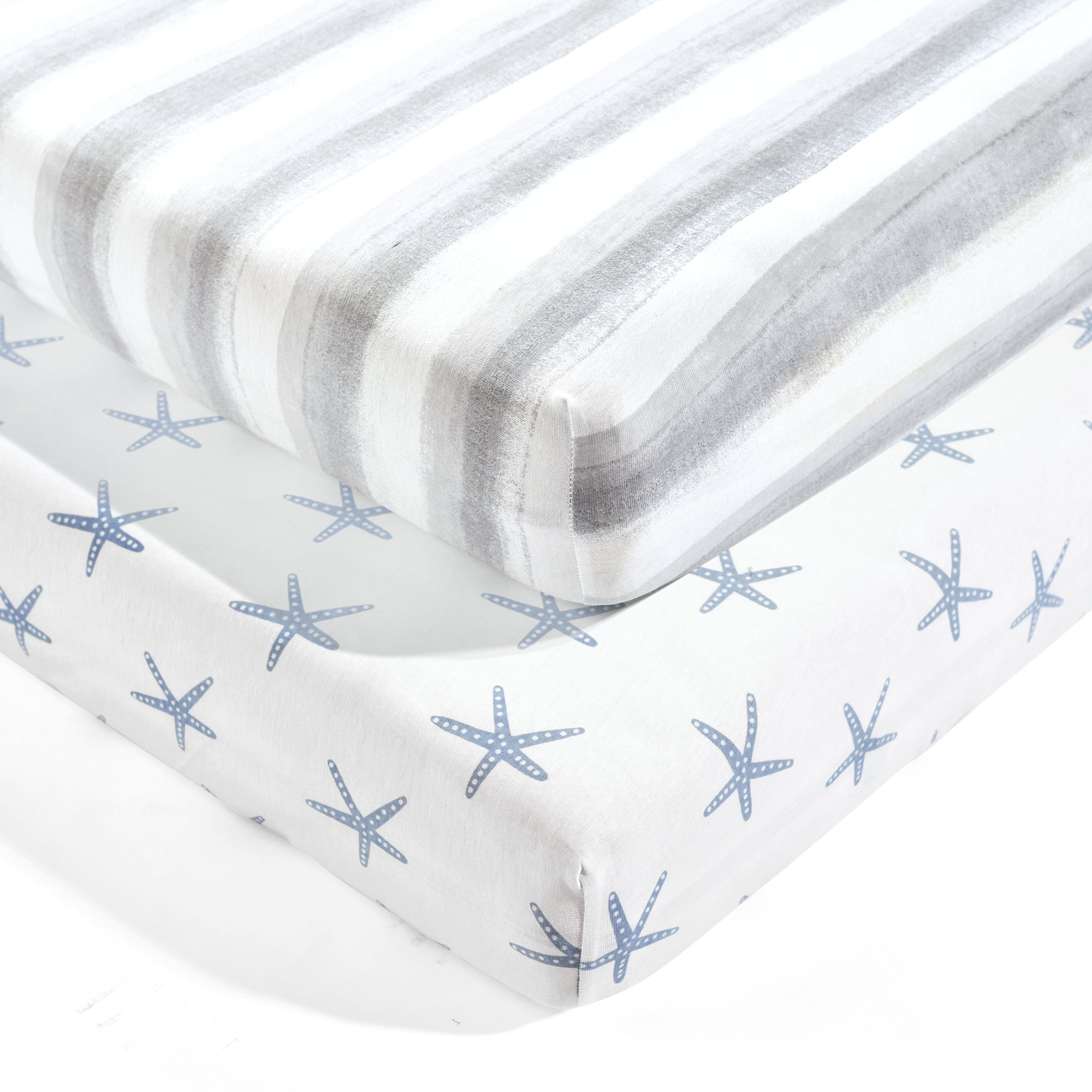 Seaside Starfish Organic Cotton Fitted Crib Sheet 2 Pack Set