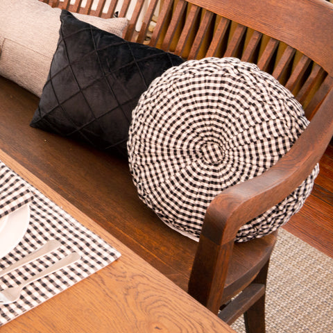 Gingham Check Yarn Dyed Pleated Decorative Pillow by Lush Decor