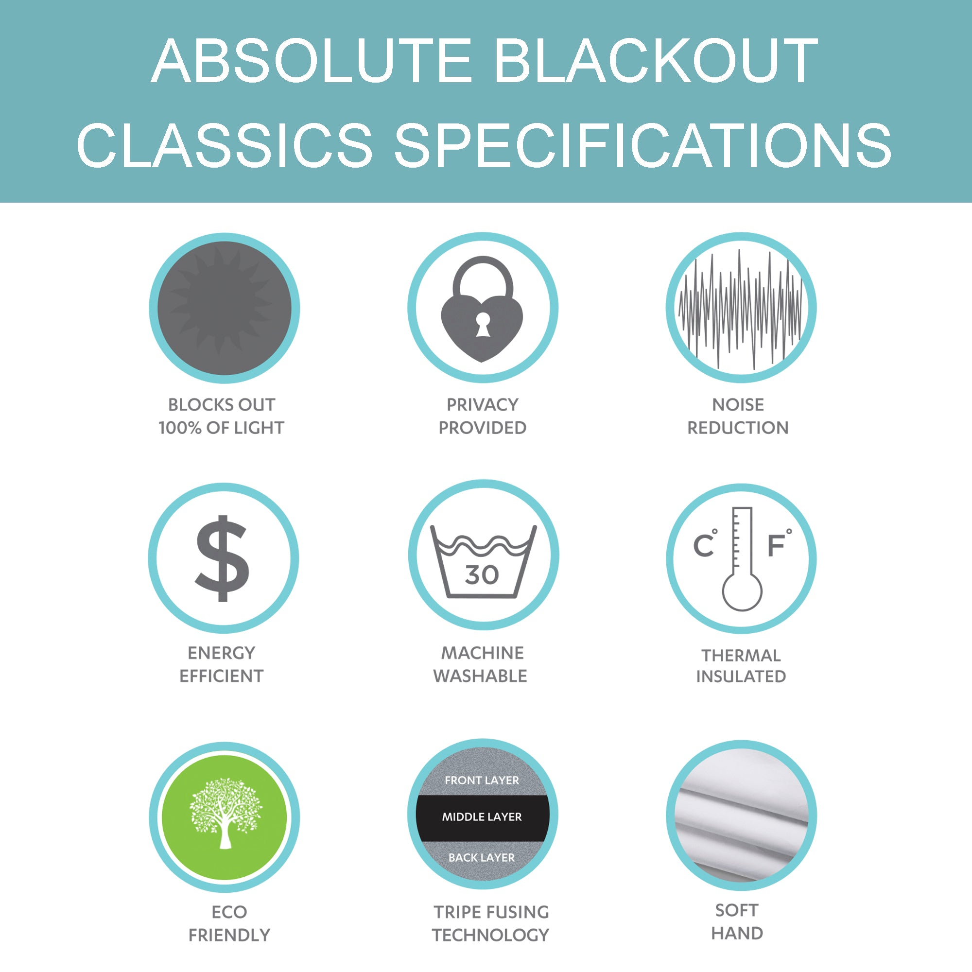 Absolute Blackout Window Curtain Panel Set