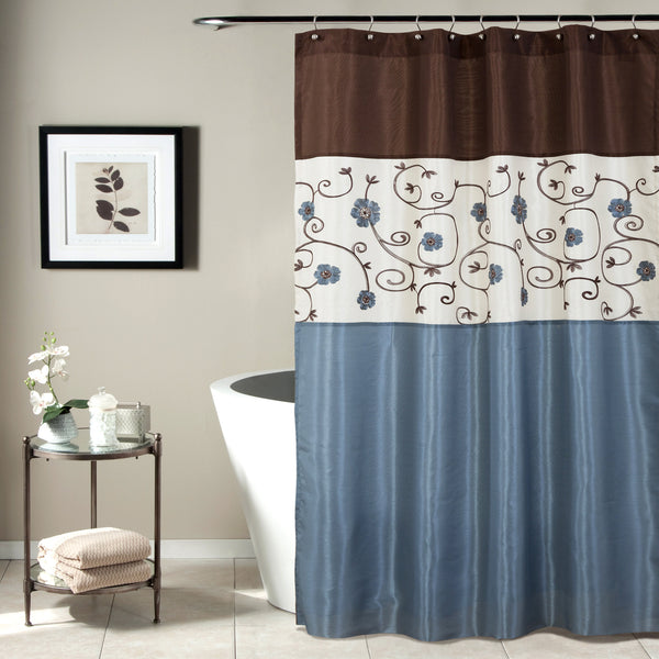 Blue And Tan Curtains: Royal Garden Shower Curtain