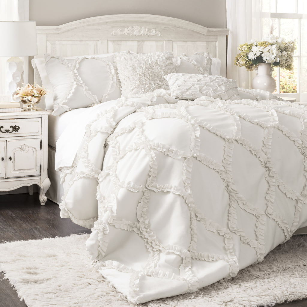 white decorative pillows shams ruffled bedding designer com set bed embellished and comforter pinch sets halpert home chic piece with floral dp skirt pleated amazon