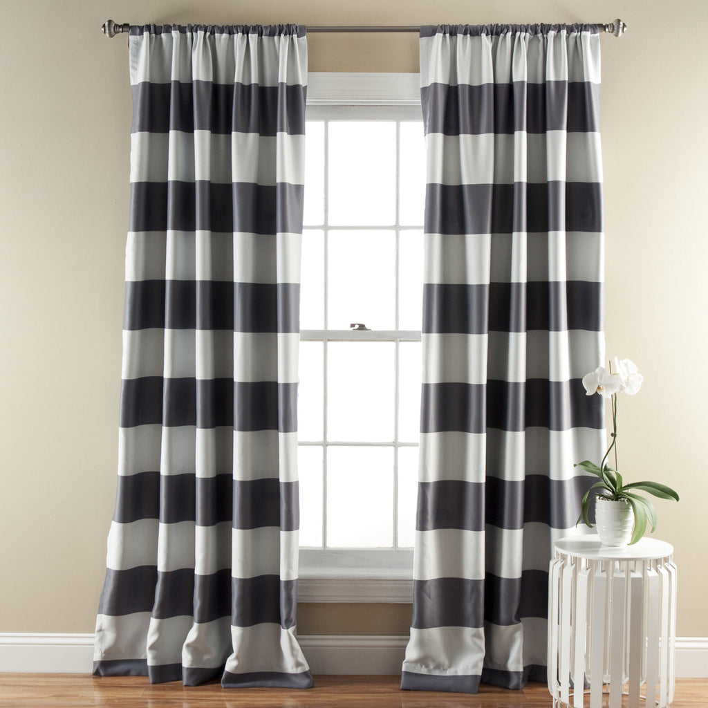 Stripe Blackout Window Curtain Set Lush Decor