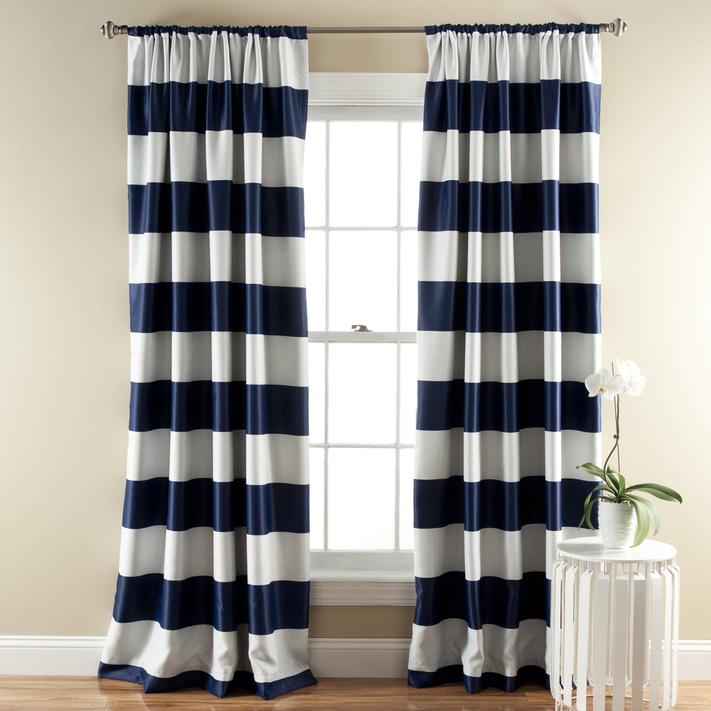blackout striped polyester p simple curtains navy curtain