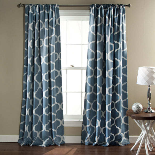Geo Room Darkening Window Curtain Set