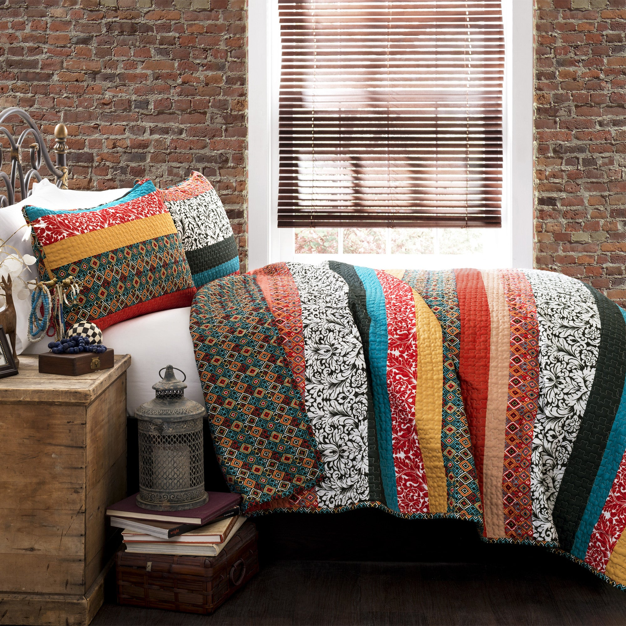 Boho Stripe 3 Piece Quilt Set