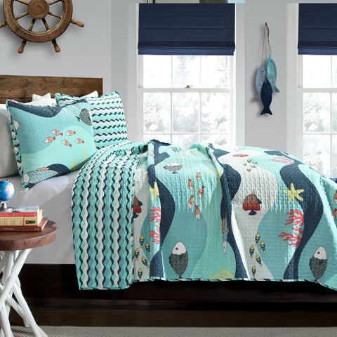 Sea Life 2 Piece Quilt Set Twin