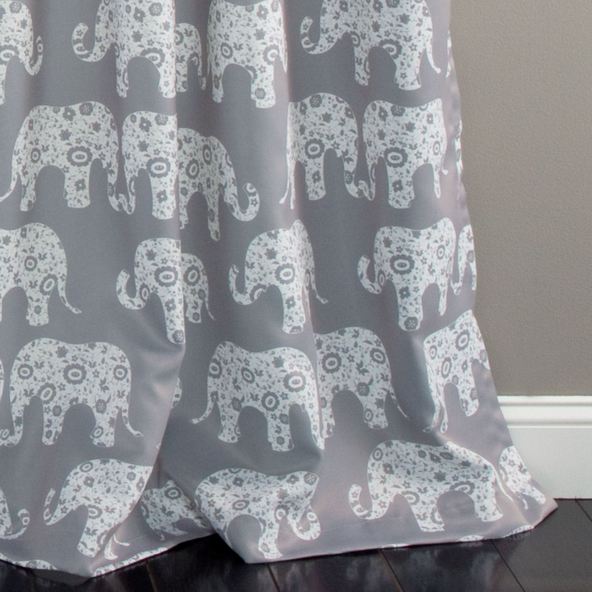 Elephant Parade Room Darkening Window Curtains Set