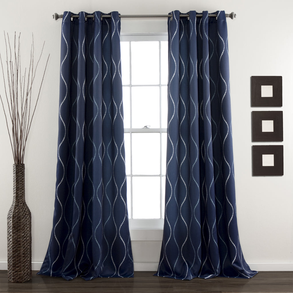 Navy blue curtains living room - Swirl Window Curtains