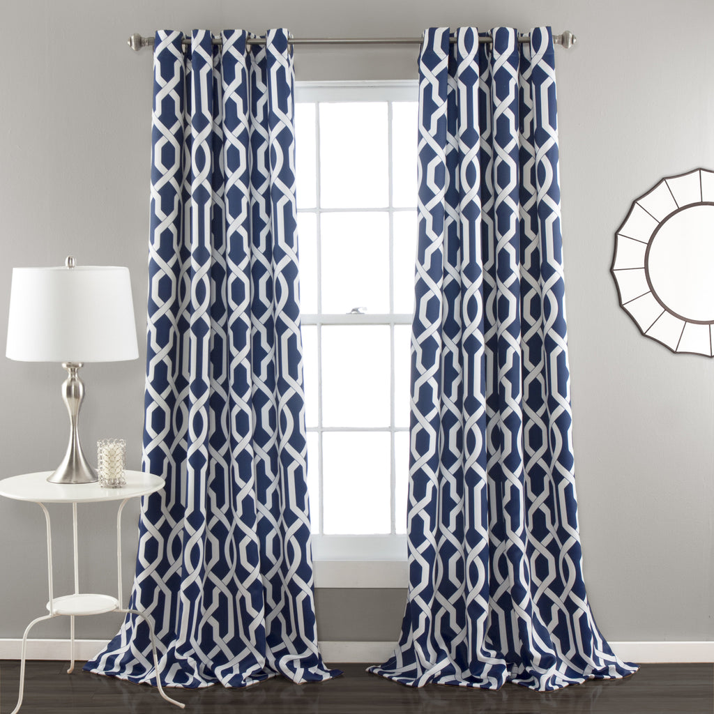 pin navy single inches panel faux silk mediterranean curtains taffeta blue window curtain