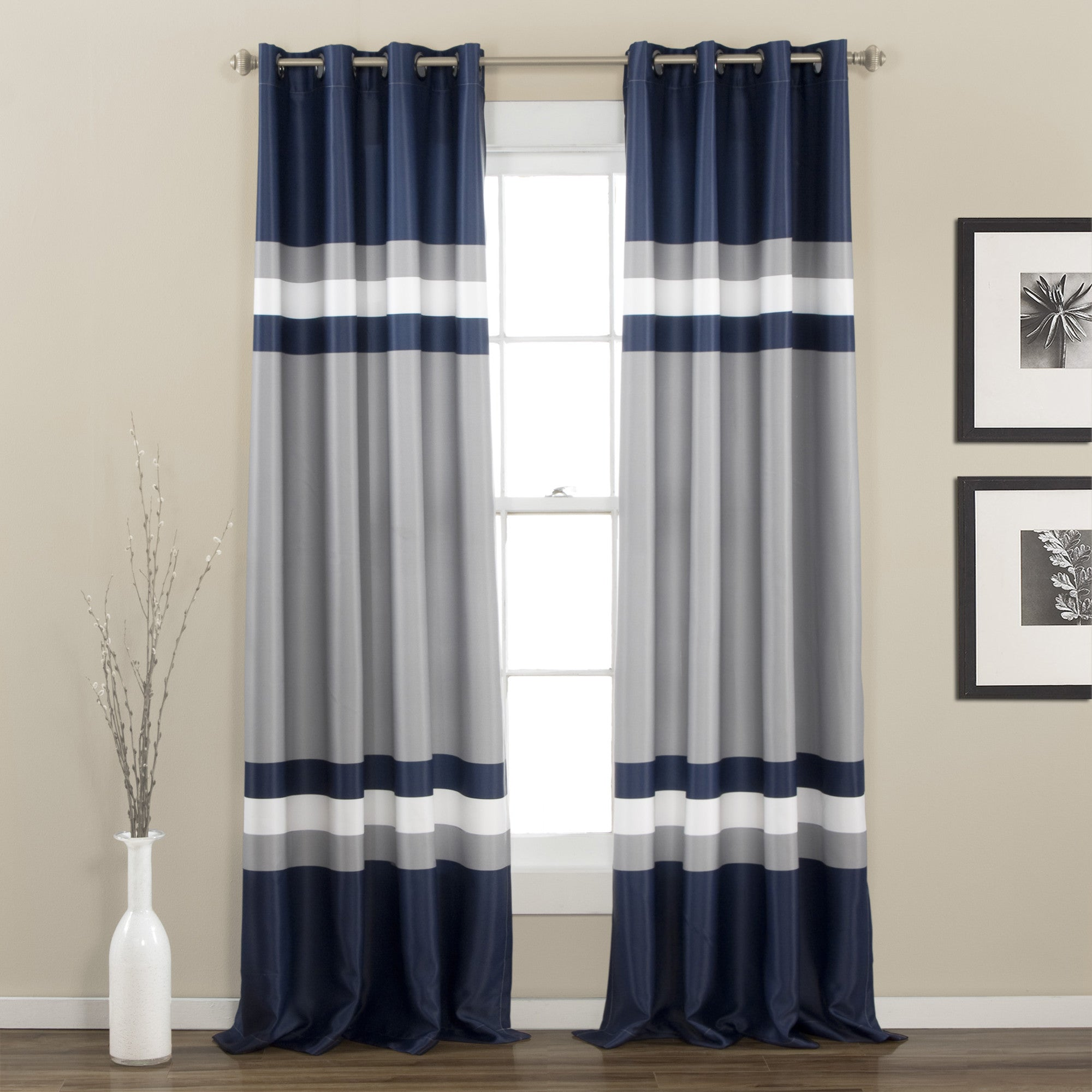 blackout curtains stripe striped pair curtain lush ip com walmart window decor