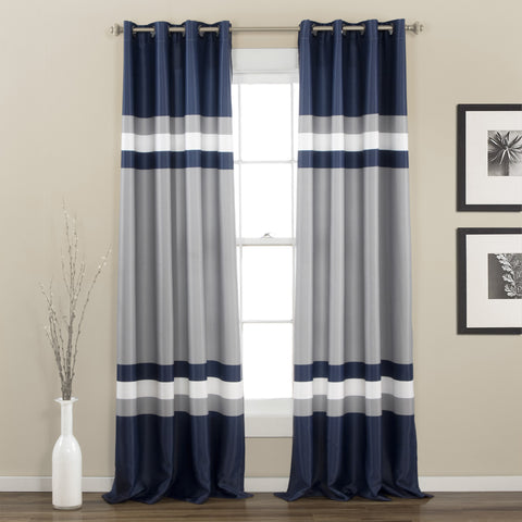 Alexander Stripe Room Darkening Window Curtain Panel Set