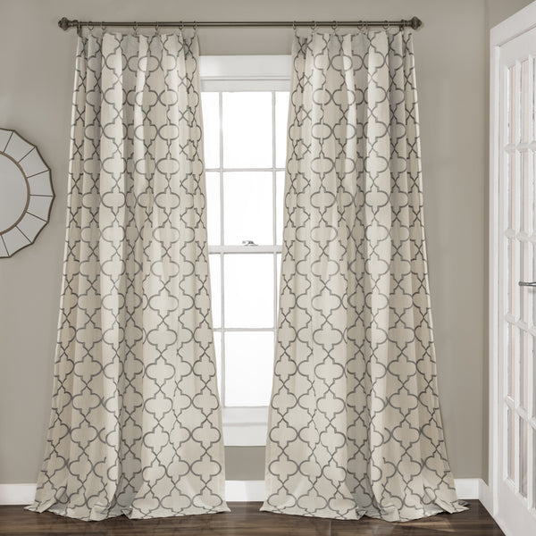 Geo Trellis Window Curtain Panel Set