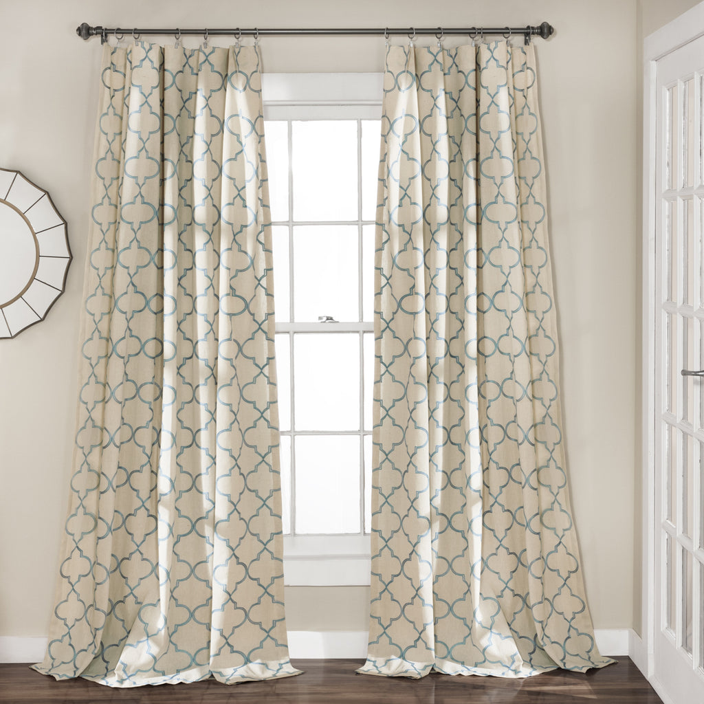 flocked curtain chambray ethel black curtains product do xxx set of trellis