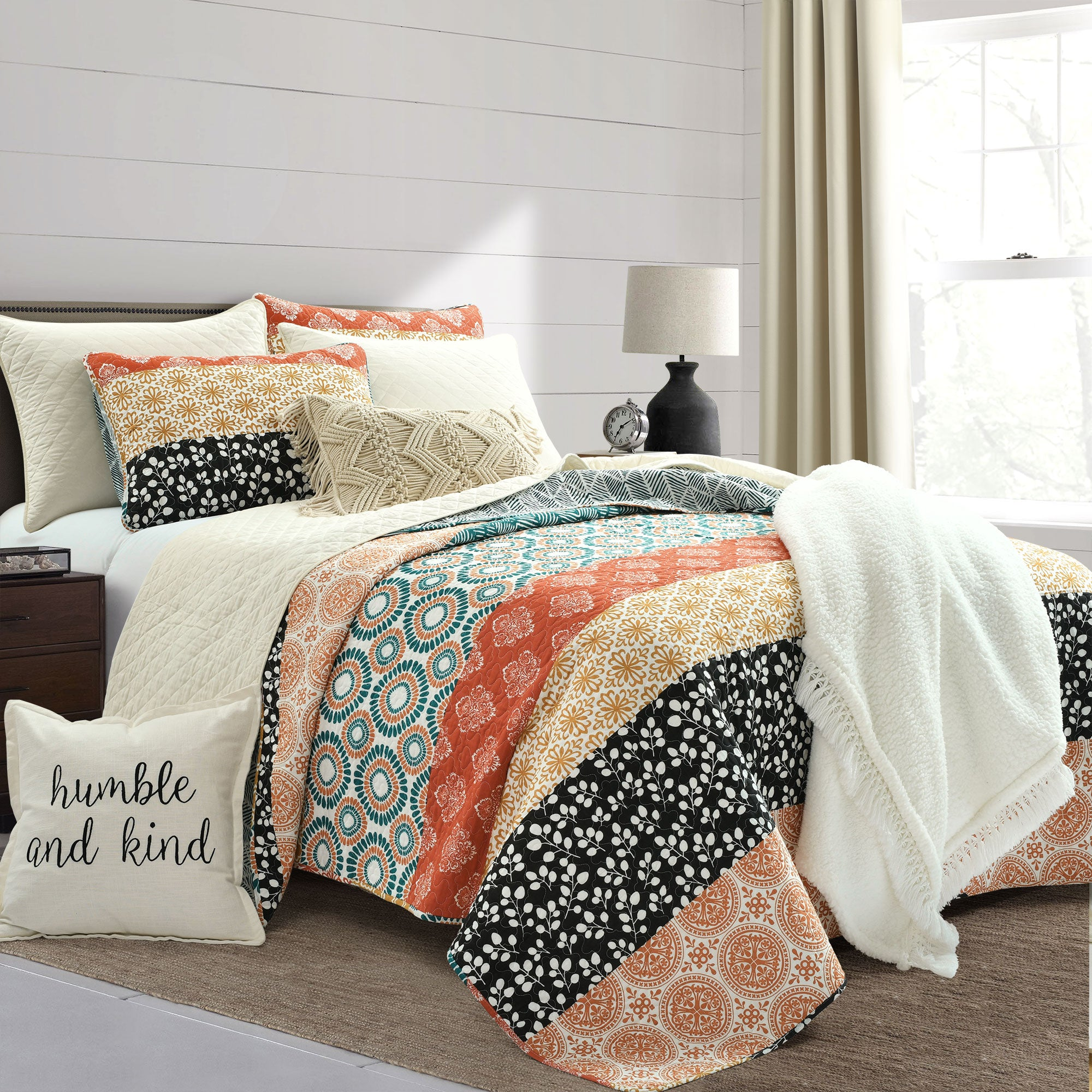 Bedding Bundle: Bohemian Stripe Quilt Set + Ava Diamond Quilt Set