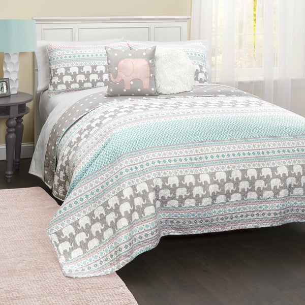 Elephant Stripe Quilt 4 Piece Set Twin