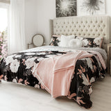Bedding Bundle: Zinnia Floral Quilt Set + Soft Stripe All Season Quilt/Coverlet Set