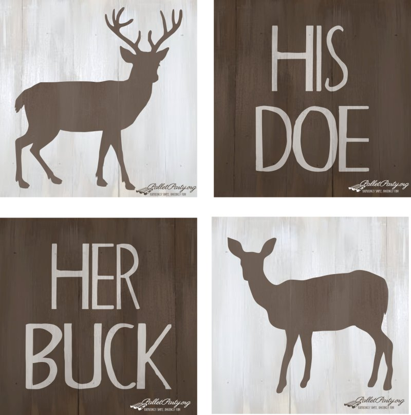 His Doe Her Buck 4 Signs All Together Palletparty Org