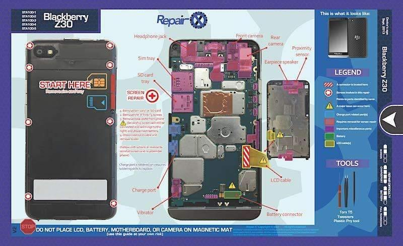 Blackberry Z30 Repair Schematic:,Repair X