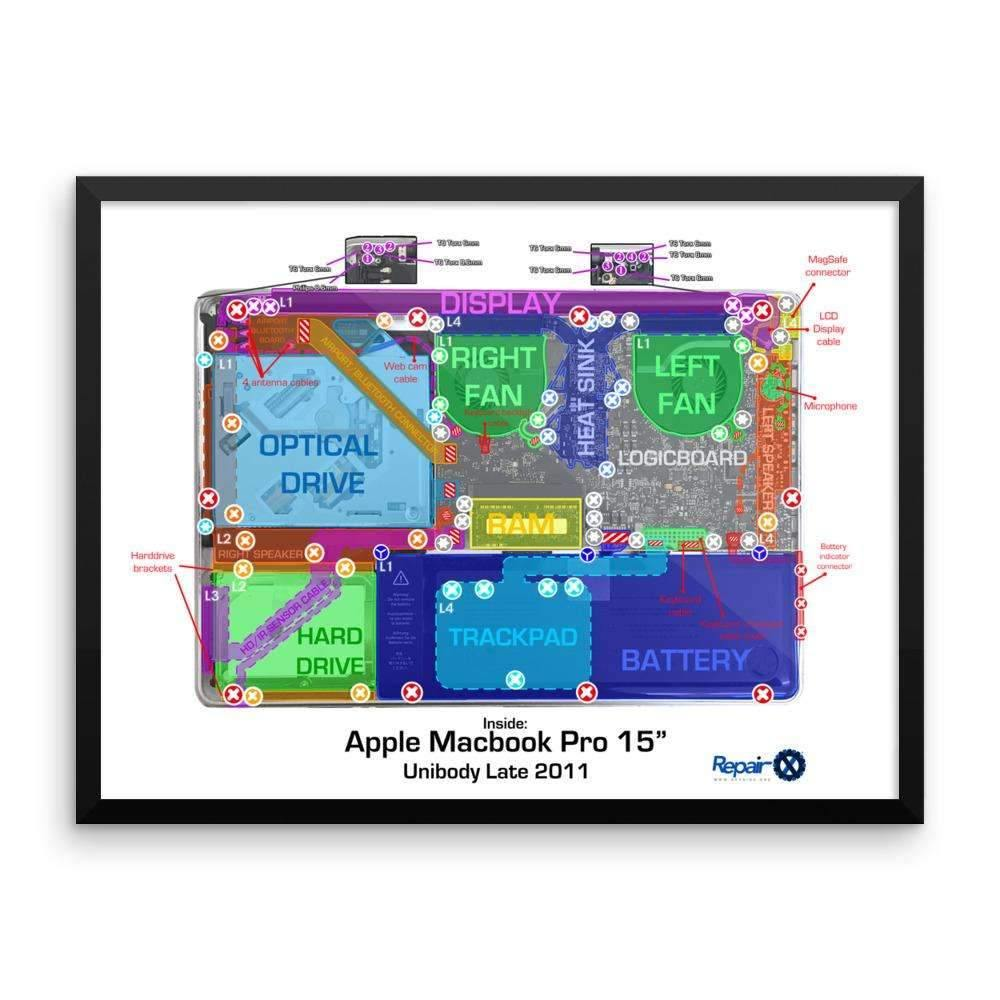 "Repair X,Framed Poster: Anatomy Chart of MacBook Pro 15"","