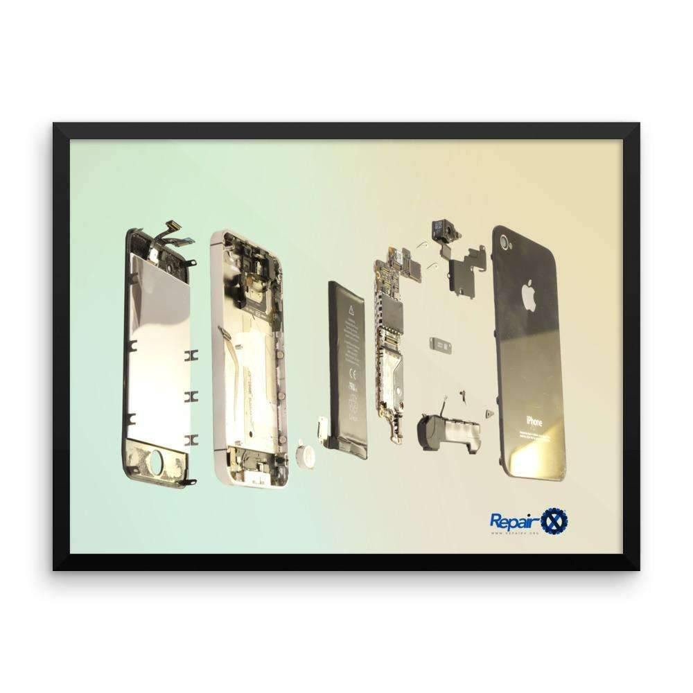 Repair X,Framed Poster: Exploded view of iPhone 4S,