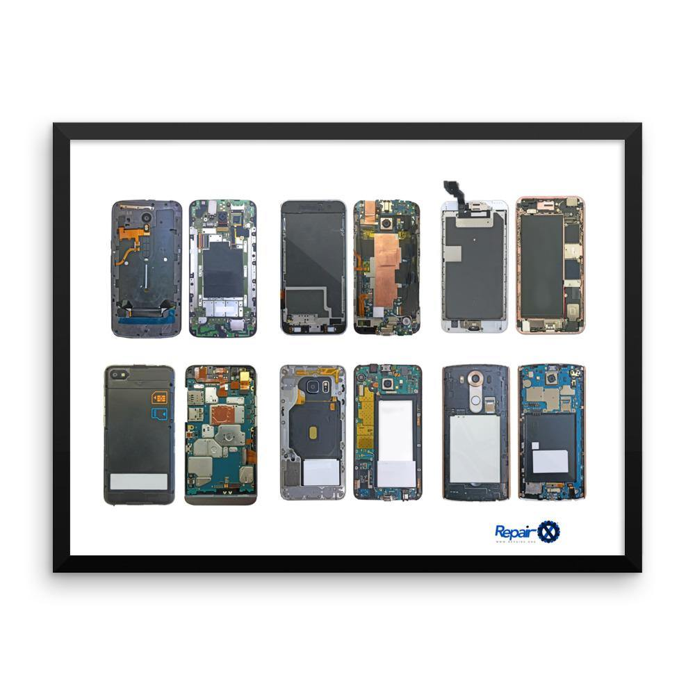 Repair X,Framed Poster: Smartphone Specimens,
