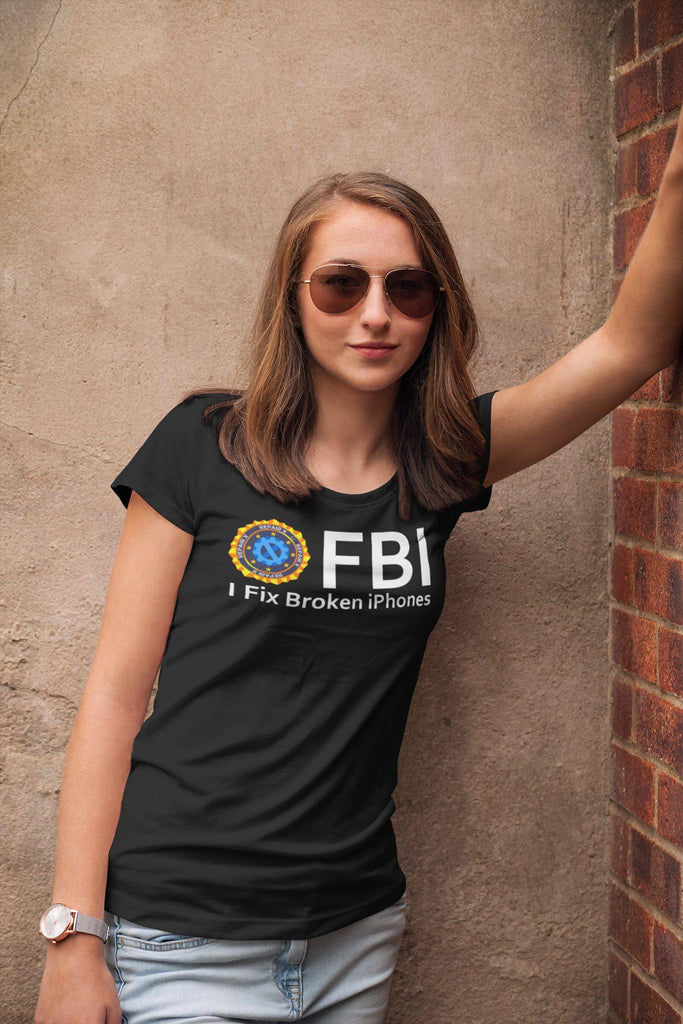 "Repair X,""FBI I Fix iPhones"" Ladies' short sleeve t-shirt,"