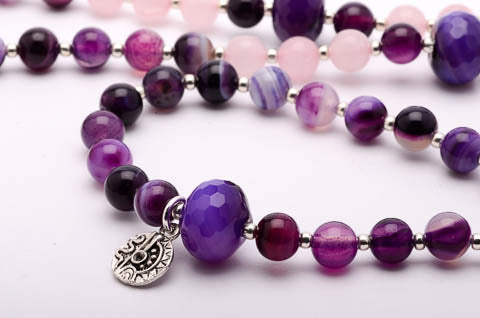 Mala Necklace Amethyst Gemstones
