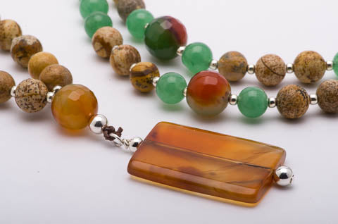 Mala Necklace Amber Gemstone