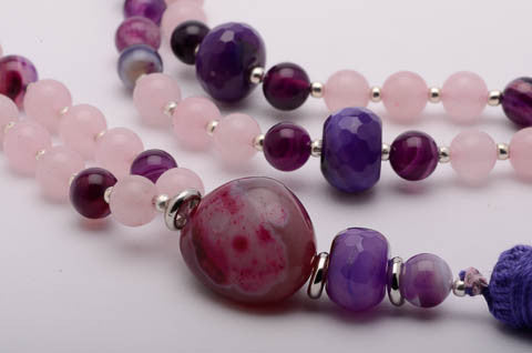 Mala Necklace Amethyst Crystal Closeup