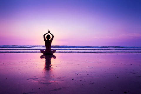 Yoga Beach Purple Sunset