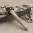 Amulet Antique Forged Nail White Bronze Pendant Necklace Handmade