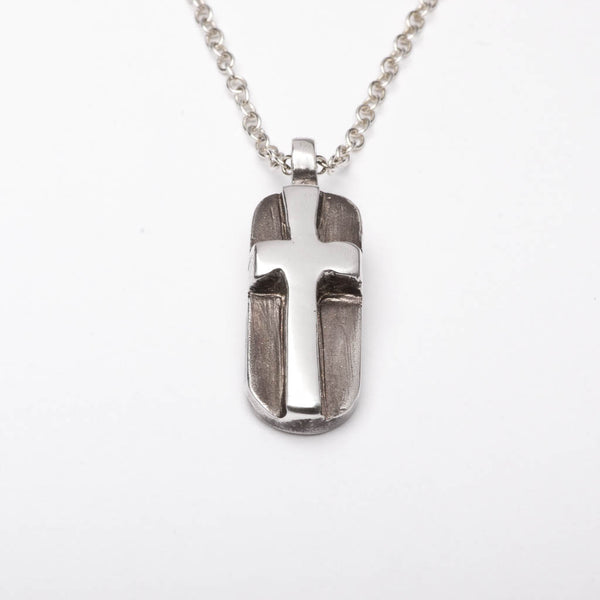 Christian Cross ID Tag Sterling Silver Pendant Necklace Handmade
