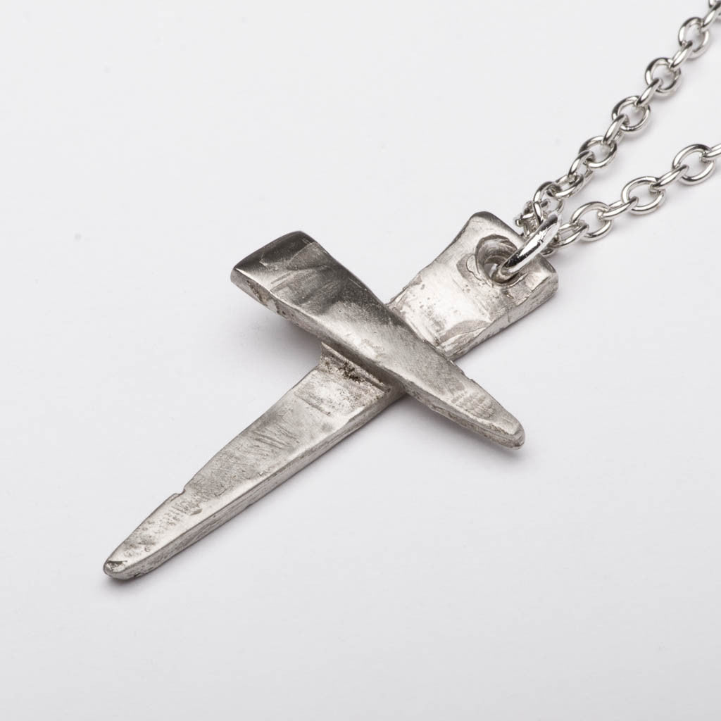 Christian Cross Foundry Nails Style Bronze Pendant Necklace Handmade