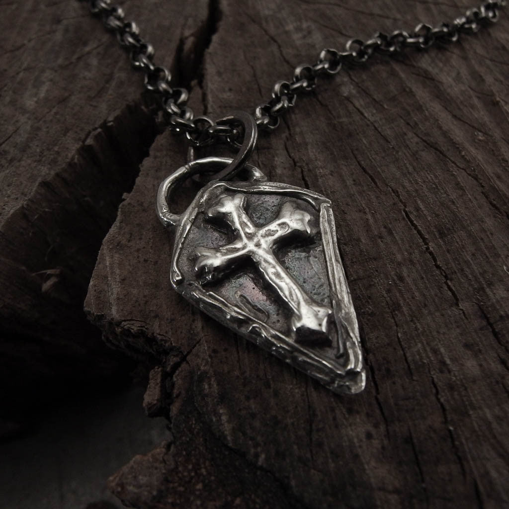 Medieval Cross Shield Silver Pendant Necklace Left