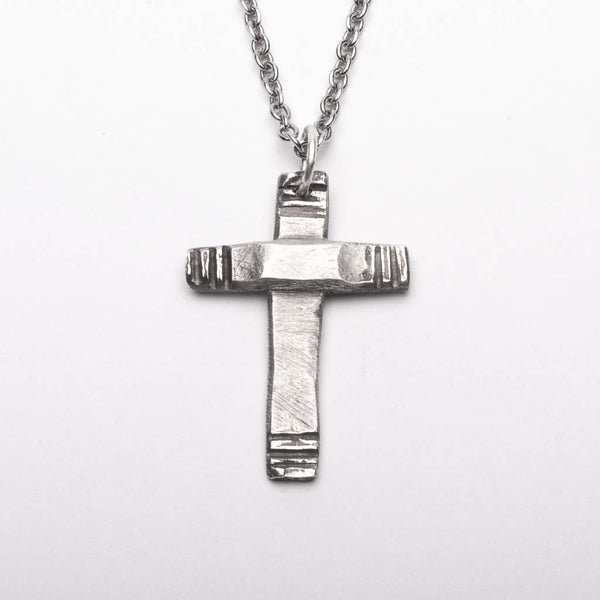 Cross Modern Style Pendant Necklace Sterling Silver Handmade