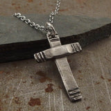 Christian Cross Modern Style Sterling Silver Pendant Necklace Handmade