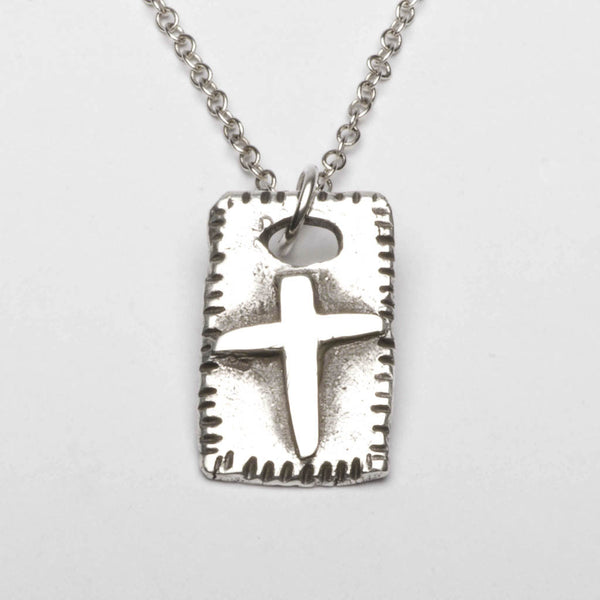 Christian Cross Rustic Medieval Sterling Silver Pendant Necklace Front