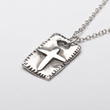 Christian Cross Rustic Medieval Sterling Silver Pendant Necklace Right