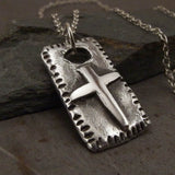 Christian Cross Rustic Medieval Sterling Silver Pendant Necklace Left