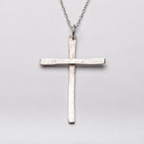 Christian Cross Slim Pendant Necklace Sterling Silver Front