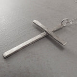 Christian Cross Slim Pendant Necklace Sterling Silver Left