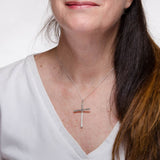 Christian Cross Slim Pendant Necklace Sterling Silver Model