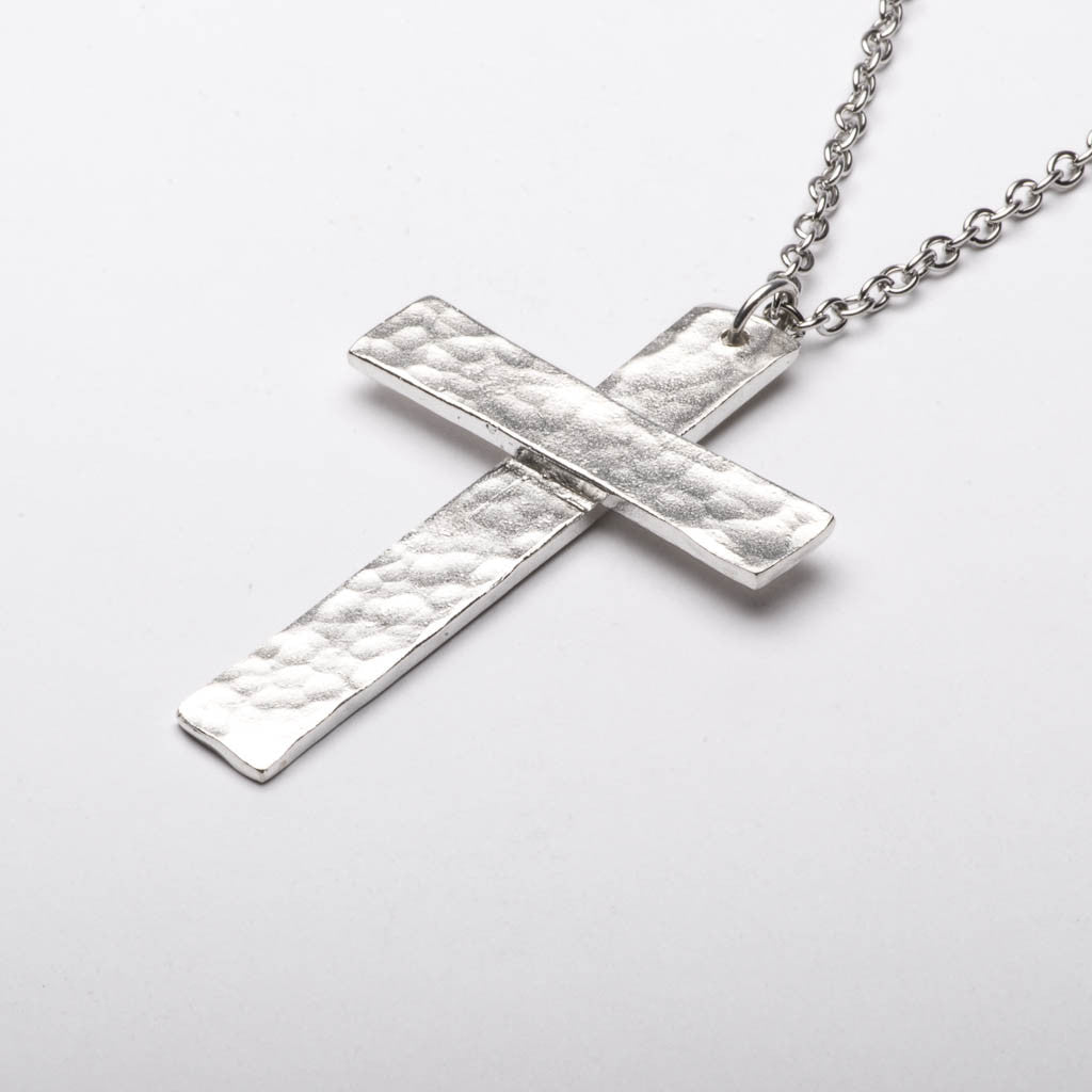 Christian Cross Traditional Large Pendant Necklace Sterling Silver Front