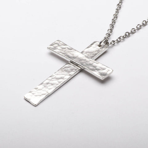 Christian Cross Traditional Large Pendant Necklace Sterling Silver Handmade