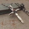 Christian Cross Twisted Pendant Necklace Sterling Silver Left